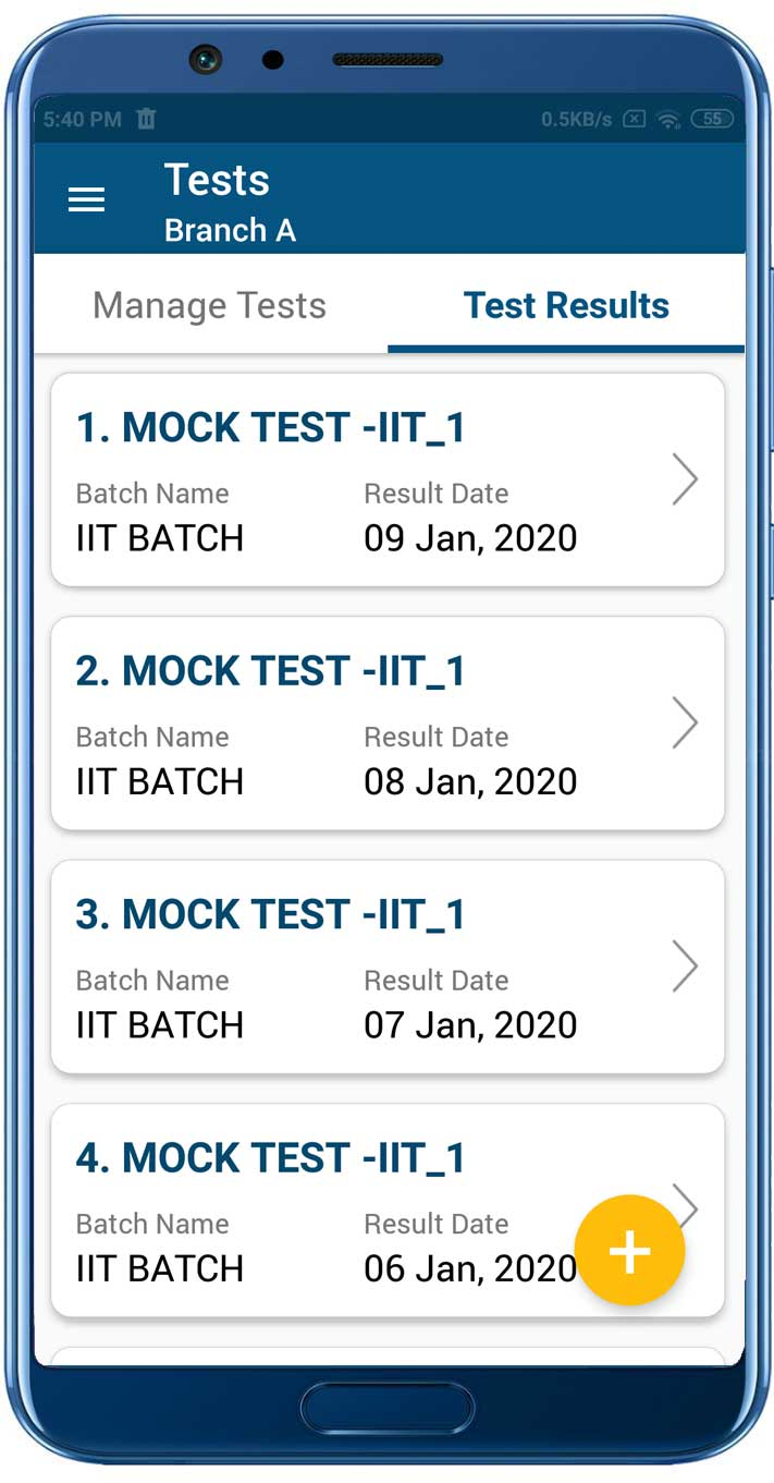 Test Result List