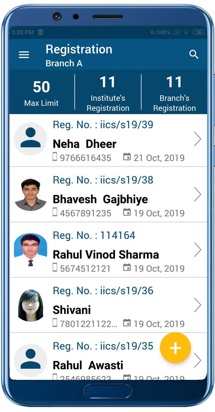 Add Registered student list